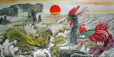 Chinese Dragon Painting,66cm x 136cm,4738003-x
