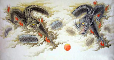 Chinese Dragon Painting,70cm x 130cm,4738005-x
