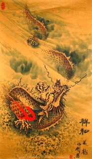 Chinese Dragon Painting,68cm x 40cm,4742005-x