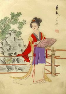 Chinese Dream of the Red Chamber Beauties & Figures Painting,30cm x 40cm,3336030-x