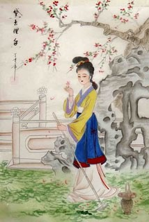 Chinese Dream of the Red Chamber Beauties & Figures Painting,30cm x 40cm,3336032-x