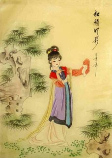Chinese Dream of the Red Chamber Beauties & Figures Painting,30cm x 40cm,3336035-x