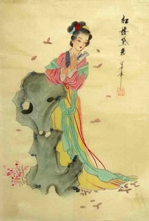 Chinese Dream of the Red Chamber Beauties & Figures Painting,30cm x 40cm,3336036-x
