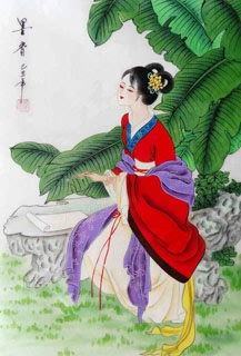 Chinese Dream of the Red Chamber Beauties & Figures Painting,30cm x 40cm,3336037-x