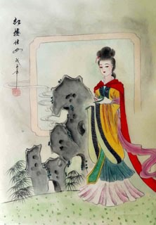 Chinese Dream of the Red Chamber Beauties & Figures Painting,30cm x 40cm,3336041-x