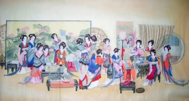 Chinese Dream of the Red Chamber Beauties & Figures Painting,97cm x 180cm,3506014-x