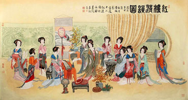 Chinese Dream of the Red Chamber Beauties & Figures Painting,90cm x 175cm,3506030-x