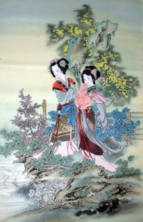 Chinese Dream of the Red Chamber Beauties & Figures Painting,66cm x 136cm,3533019-x