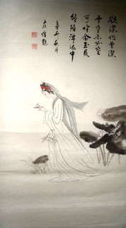Chinese Dream of the Red Chamber Beauties & Figures Painting,48cm x 96cm,3718004-x