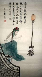 Chinese Dream of the Red Chamber Beauties & Figures Painting,48cm x 96cm,3718007-x