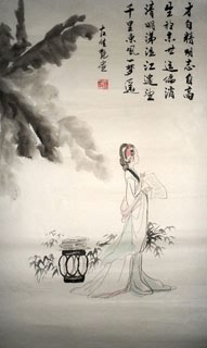 Chinese Dream of the Red Chamber Beauties & Figures Painting,48cm x 96cm,3718010-x