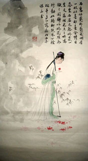 Chinese Dream of the Red Chamber Beauties & Figures Painting,48cm x 96cm,3718011-x