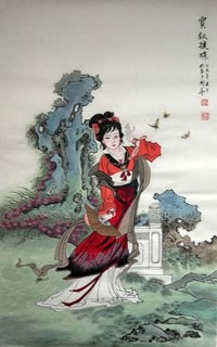 Chinese Dream of the Red Chamber Beauties & Figures Painting,68cm x 110cm,3720003-x