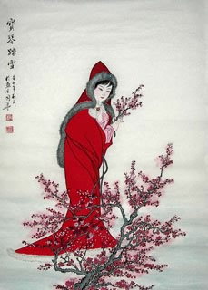 Chinese Dream of the Red Chamber Beauties & Figures Painting,68cm x 110cm,3720004-x