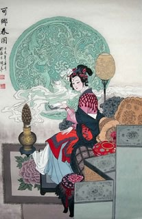 Chinese Dream of the Red Chamber Beauties & Figures Painting,68cm x 110cm,3720006-x