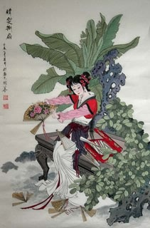 Chinese Dream of the Red Chamber Beauties & Figures Painting,68cm x 110cm,3720009-x