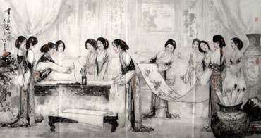 Chinese Dream of the Red Chamber Beauties & Figures Painting,97cm x 180cm,3798026-x