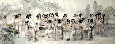 Chinese Dream of the Red Chamber Beauties & Figures Painting,124cm x 283cm,3798027-x