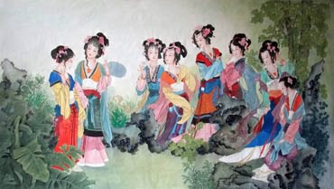 Chinese Dream of the Red Chamber Beauties & Figures Painting,96cm x 170cm,3807011-x
