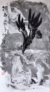 Chinese Eagle Painting,69cm x 138cm,41094053-x