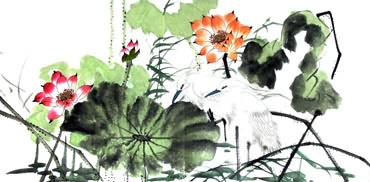 Chinese Egret Painting,50cm x 100cm,2317003-x