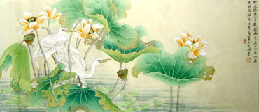 Chinese Egret Painting,50cm x 107cm,2414007-x