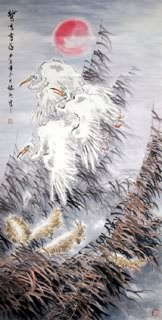 Chinese Egret Painting,66cm x 136cm,2438010-x