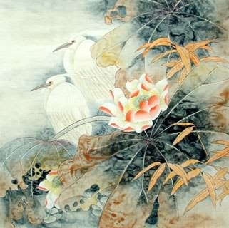 Chinese Egret Painting,69cm x 69cm,2614038-x