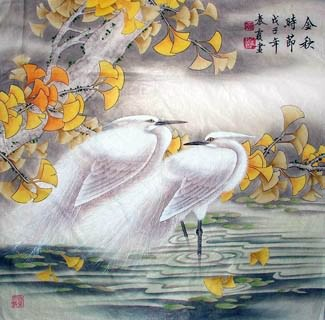 Chinese Egret Painting,66cm x 66cm,2703004-x