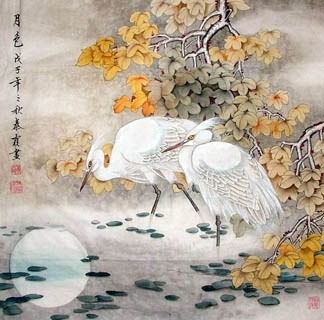 Chinese Egret Painting,66cm x 66cm,2703008-x
