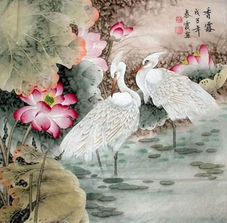 Chinese Egret Painting,69cm x 69cm,2703014-x
