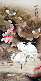 Chinese Egret Painting,55cm x 95cm,2703037-x
