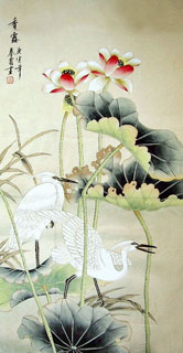 Chinese Egret Painting,66cm x 136cm,2703039-x