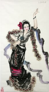 Chinese Ethnic Minority Painting,50cm x 100cm,3348007-x