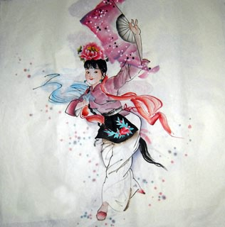 Chinese Ethnic Minority Painting,69cm x 69cm,3348035-x