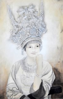 Chinese Ethnic Minority Painting,50cm x 33cm,3416002-x