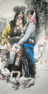 Chinese Ethnic Minority Painting,69cm x 138cm,3447121-x