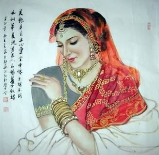 Chinese Ethnic Minority Painting,69cm x 69cm,3515003-x