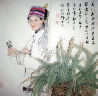 Chinese Ethnic Minority Painting,69cm x 69cm,3515005-x