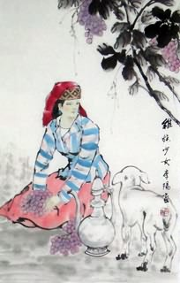 Chinese Ethnic Minority Painting,69cm x 46cm,3812008-x