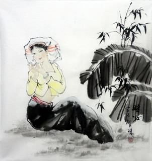 Chinese Ethnic Minority Painting,50cm x 50cm,3813001-x