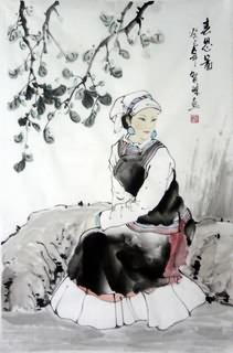 Chinese Ethnic Minority Painting,69cm x 46cm,3813028-x