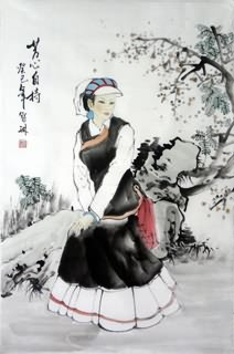 Chinese Ethnic Minority Painting,69cm x 46cm,3813038-x