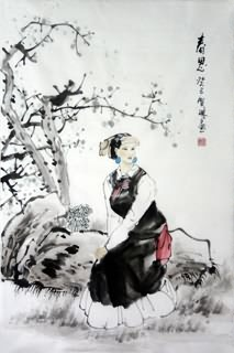 Chinese Ethnic Minority Painting,69cm x 46cm,3813039-x