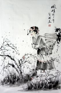 Chinese Ethnic Minority Painting,69cm x 46cm,3813040-x