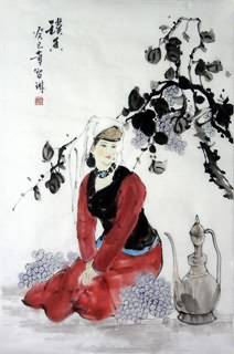 Chinese Ethnic Minority Painting,69cm x 46cm,3813042-x