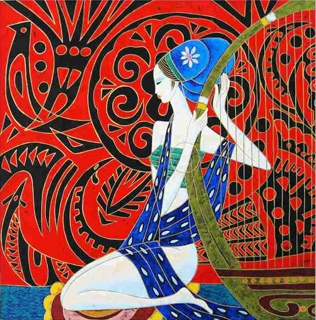Chinese Ethnic Minority Painting,50cm x 50cm,3815002-x