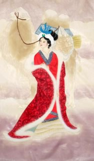 Chinese Famous Four Beauties Painting,69cm x 46cm,3336018-x