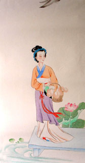 Chinese Famous Four Beauties Painting,35cm x 60cm,3336019-x