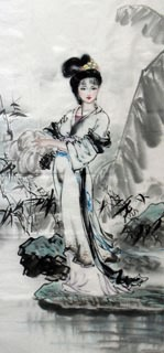Chinese Famous Four Beauties Painting,56cm x 136cm,3336021-x